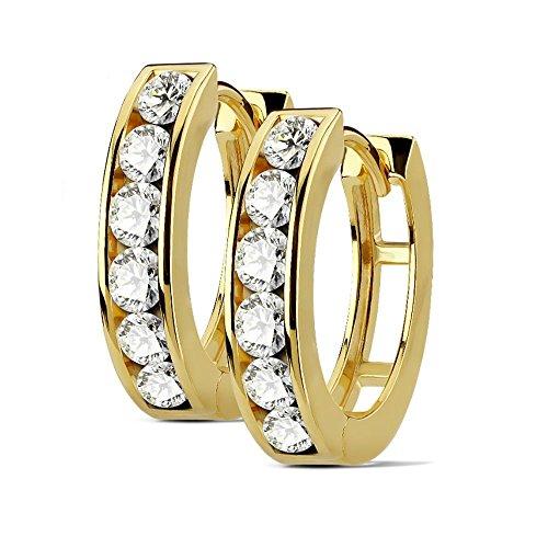 Bungsa goldene Ohrringe Kristalle Damen 4mm I hochwertige Creolen mit Kristallen für Frauen Edelstahl