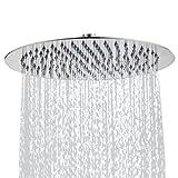 ETiME Ultraslim Einbauduschköpfe Edelstahl Quadratisch Duschkopf Rund Regendusche Spiegeleffekt Regenduschkopf Wasserfall (12 Zoll 30cm, rund)