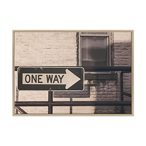 ConKrea Bild auf Leinwand Canvas-Gerahmt-fertig Zum Aufhängen-One Way-Brooklyn NY City-USA Amerika Dimensione: 70x100cm B - Colore Legno Naturale Moderno
