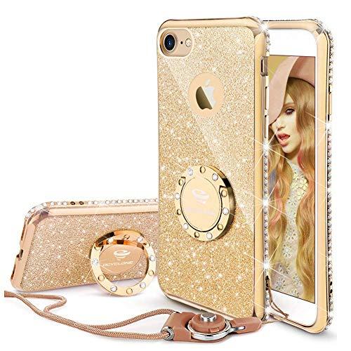 OCYCLONE iPhone 8 Hülle, iPhone 7 Handyhülle für Frauen Mädchen, Glitzer Diamant Strass Bumper mit Ring Kickstand Schutzhülle für iPhone 8 / iPhone 7 - Gold -