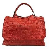 ESSE MEDIA Paul.hide Tasche Leder DRILLO ( Krokodil bedrucktes Leder) Handgemacht Made Italy Schultertasche Umhängetasche Handtaschen Made In Italy Handgemacht Kunsthandwerk 36x25x18 cm Farbe ROT