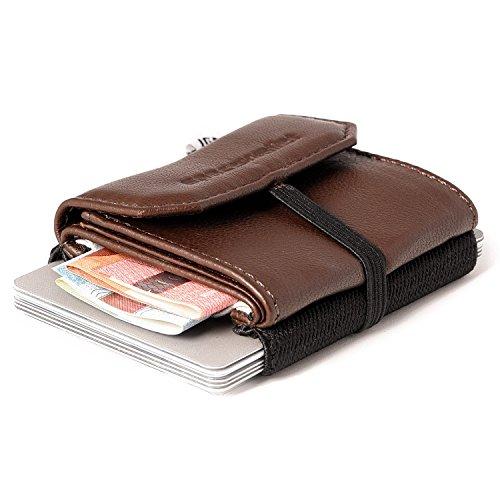 Space Wallet Pull Mini Geldbeutel aus Leder - Bis zu 15 Kreditkarten/EC-Karten i...