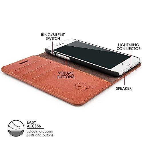 """Case für iPhone 8 / iPhone 7 (4,7"""") Thin Leather Hülle Liber Leder - Leder Tasche für Apple iPhone 7 / 8, Schutzhülle Book Case in Schwarz von QUADOCTA® - Idealer Schutz für Diamantschwarz Jet Black i Tabacco"""