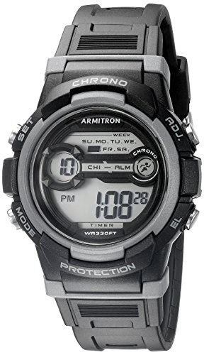 Armitron Sport Unisex 45/7064BLK Grey Accented Digital Chronograph Black Resin Strap Watch