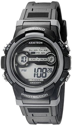 Armitron Sport Unisex 45/7064blk acentuado con gris cronógrafo Digital Negro Reloj de correa de resina