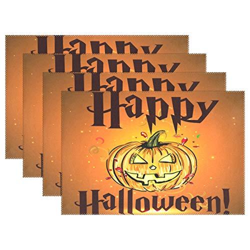 (WAMIKA Halloween/Tischsets für Esstisch Set von 1, Herbst Urlaub Küche Tisch Matten waschbar hitzebeständig schmutzabweisend rutschfeste Tisch-Sets 30,5x 45,7cm leicht zu reinigen, Polyester-Mischgewebe, multi, 12x18 inch)