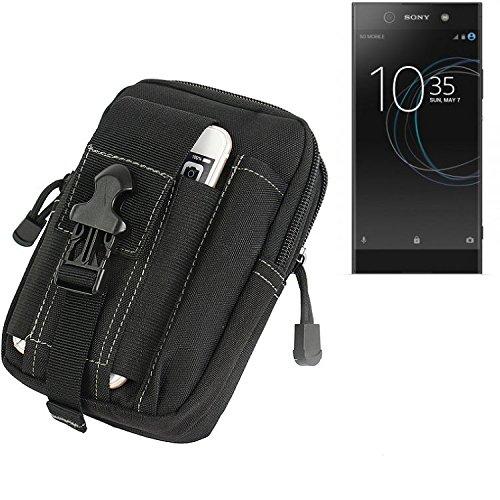 K-S-Trade Gürtel Tasche für Sony Xperia XA1 Ultra Dual Gürteltasche Schutzhülle Handy Hülle Smartphone Outdoor Handyhülle schwarz Zusatzfächer