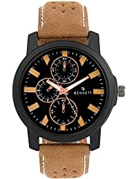 Stylish Bennett Chronographed Brown Belt And Black Men's Dial Watch By Kasa Time