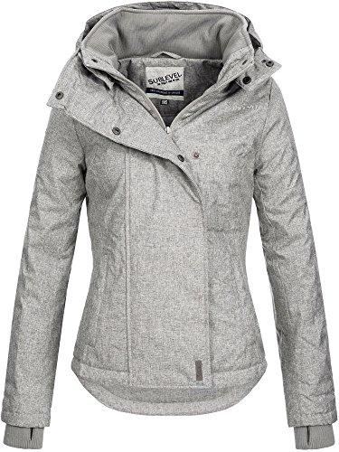 SUBLEVEL Damen Zipper Jacke mit Kapuze Steppjacke Stepp Winterjacke Jacke Damenjacke XS S M L XL Middle Grey