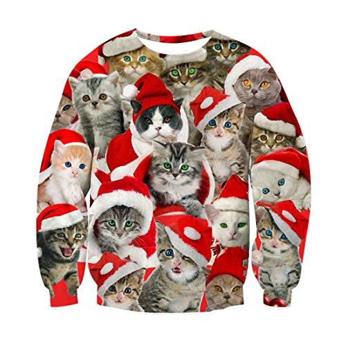 RAISEVERN Unisex Cute Hässliche Weihnachten Katzen Print Casual Rundhals Pullover Pullover Sweatshirt für Teen Juniors