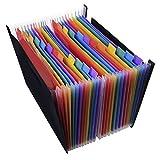 Cartelle A4espansione, Rainbow color Accordion Document organizer portatile grande spazio porta documenti, lettere fatture organizer portaoggetti per ufficio, casa, viaggi 24-Pockets File Holder