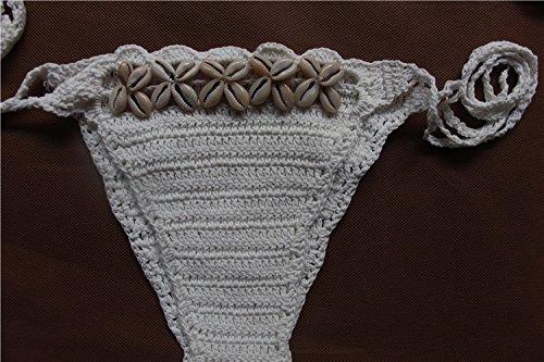 Damen Bikinis Set Badeanzug Two-Piece Strappy Back Halter-Ansatz Unique Monokini Normallacks Mit Muschel Girl Swimsuit Beachwear Baumwollgarn Weiß