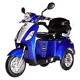 Rolektro E-Trike 25 Blau mit EU Zulassung Elektroroller E-Scooter 600 W Motor 50 KM Reichweite 25 KmH Höchstgeschwindigkeit Eroller E-roller Elektro-Roller Scooter elektrisches Dreirad 3-Rad