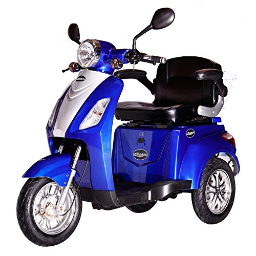 rolektro e trike 25 blau mit eu zulassung elektroroller e scooter 600 w motor 50 km reichweite. Black Bedroom Furniture Sets. Home Design Ideas