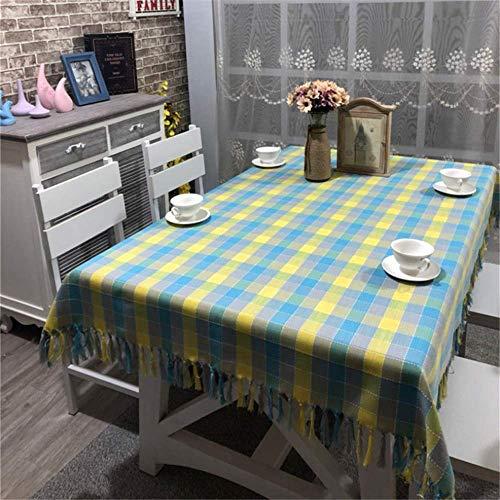 SONGHJ : Baumwolle Leinen Weihnachtstischdecke Plaid Gestreifte Tischdecke Decor Home Dekorative Rechteckige Tischdecke 04 135x180cm