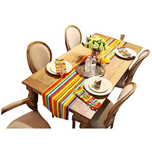 Haiying runner romantico san valentino 7 strisce di colore tabella runnerpure tela di cotone tovaglietta per ufficio cucina dining wedding party ( dimensioni : 35*160cm )