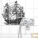 Boubouki Wasserabweisende Fliesenaufkleber STÖRTEBECKER (Poster) - transparent – für Bad und Küche | 15 x 15 cm