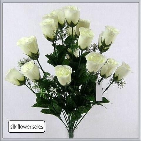 Bouquet moderne avec 18 boutons de roses ivoire Idéal pour les mariages