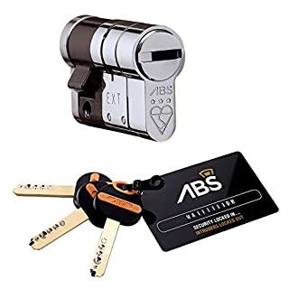 Avocet ABS Half Cylinder Garage 10 (INT) X 45 (EXT) Polished Chrome - Anti Snap Lock - Sold Secure Diamond Standard - 3 Star
