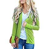YANG YI Clearance Offer Women's Casual Stylish Solid V Neck Long Sleeves Button Down Knitwear Knit Sweater Tops T-Shirts & Shirts - B07KJCV7SF