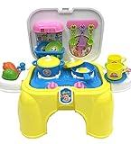 deAO Küchenspielzeug Sets Praktische Tragetasche & Hocker 2in1 Mit Zubehör im Lieferumfang Enthalten (Küche Gelb)
