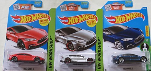 Hot Wheels Tesla Model S Car in Silver, Red and Blue Set of 3 Vehicles by Hot Wheels