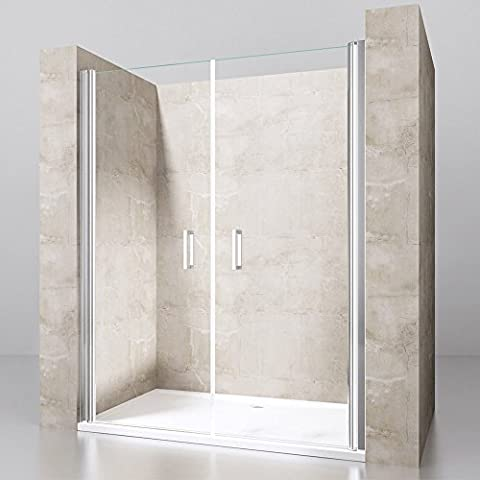 Pivot Hinged Shower Door Walk-in Screen Enclosure Reversible Glass Single Double (1100mm x 760mm Stone Shower Tray, 1100mm x 1900mm Double