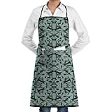 Drempad Delantal Adjustable Bib Apron with Pockets - Commercial Restaurant and Home Kitchen Apron - Strokes in K(2831) Print