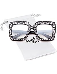 ADEWU Occhiali da sole con diamanti frizzanti oversize Donne Lente di  protezione con montatura quadrata grande f0e95f11971
