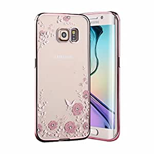 Samsung Galaxy S7 Seven ( Rose Pink Color ) Shockproof Silicone Soft Tpu Transparent Shining Flower Stylish Case With Sparkle Crystals Back Cover Case Brand Dustin