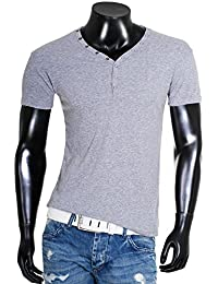 Young & Rich Herren Uni feinripp T-Shirt mit Knopfleiste & tiefem Ausschnitt deep V-Neck einfarbig 2002, Grösse:L;Farbe:Grau