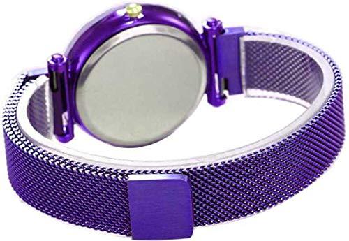 Harmi Creative Luxury Mesh Magnet Buckle Starry Sky Quartz Watches for Girls Fashion Clock Mysterious Purple Lady Analog Watch - for Girls (Purple)