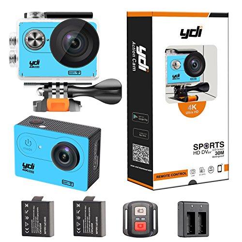 Ydi h9r 4k action sport cam camera impermeabile wifi 12mp full hd 2.0 pollici 170° obiettivo grandangolare con 2.4g telecomando, 2x1050mah batterie (blu)