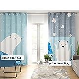 SR Kinderzimmer Verdunklungsvorhänge(70-90%) Cartoon Haken Plissee Vorhänge Für Junge Schlafzimmer Wohnzimmer-Eisbär B 59