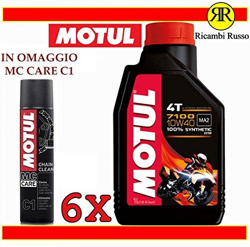 Motul 7100 10w40 olio motore moto 4 tempi litri 6 + OMAGGIO MC Care C1 Ch