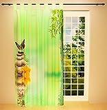 Clever-Kauf-24 Schlaufenschal Vorhang Gardine Bambus & Steine BxH 145 x 245 cm   Sichtschutz   Lichtdurchlässiger Schlaufenvorhang mit Druckmotiv
