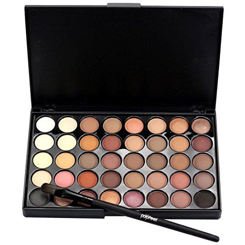 Samlike cosmétiques Matte Fard à paupières Crème Maquillage Palette en lot de 40 Couleur + Pinceau Ensemble noir A