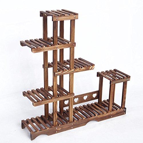 LEI ZE JUN UK- Massivholz Indoor Balkon Landung multifunktionale Multi-Fleisch-Carbon Grill Regal Multilayer Lagerung Topf Rack Pflanzentreppe - Lagerung Topf Rack