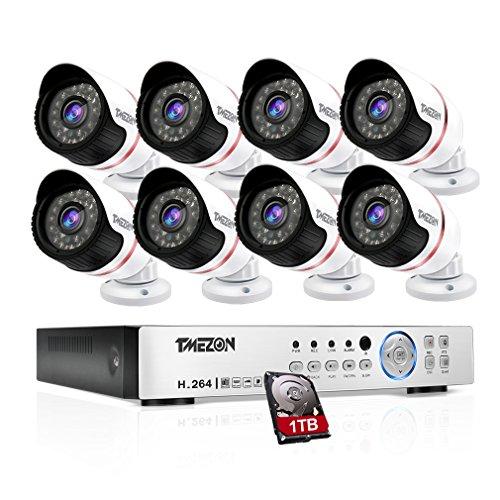 Tmezon CCTV Sicherheit Videoüberwachung überwachungssystem 8CH AHD 1080N DVR Recorder mit 8x2.0MP überwachungskameras Wetterfest Nachtsicht,Unterstützen P2P Smartphone Fernzugriff,1TB Festplatte