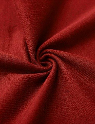 KAIUSI Herren Basic Rundhals Streifen Pullover Langarmshirt Weiss-Rot
