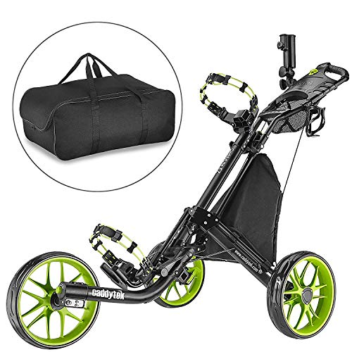 CaddyTek Golfwagen golf trolleys 3 Rad Golf Push cart leicht falten-lime