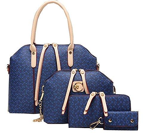 Minetom Damen Elegant Handtasche Schultertasche Tragetasche Handtasche Taschen 4 Pcs Set (One Size, Blau) (Fell Purse Bag Handtasche)