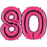 Ballon Zahl 80 in Pink - XXL Riesenzahl 100cm - zum 80. Geburtstag - Party Geschenk Dekoration Folienballon Luftballon Happy Birthday Rosa - PARTYMARTY GMBH