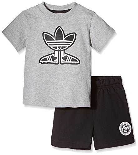 adidas Kinder Soccer Shoe T-Shirt/Shorts Set, Medium Grey Heather/Black, 86