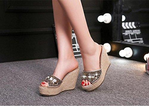 BaiLing Damen Sommer Pantoffeln / Wedge Ferse handgefertigte gestrickte Stroh wasserdicht / dicke Boden / kleine Größe weibliche Sandalen Schuhe Gold