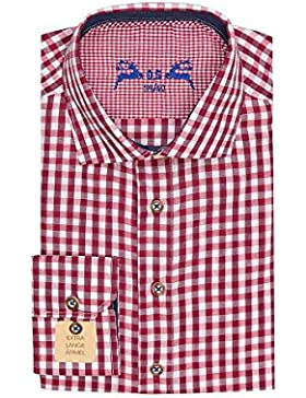 OS Trachten Trachtenhemd Langarm Rot Weiß Karo Slimfit 000460, Extra Lange Ärmel, Material Baumwolle