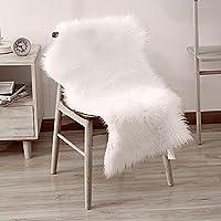 Tapis Faux en peau de mouton, Livebox Soft Soft Fluffy Tapis Large Carpet Tapis antidérapants pour chaise Lit Canapé Plancher avec extra long Laine, 60 * 100 C