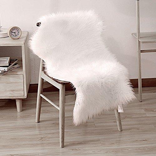 LIVEBOX Dekorative Luxus Faux Lammfell Sitzbezug Stuhl Pad plain Shaggy Wolle natur Superweicher Trow Fußmatte Extra Lang Flor Teppich Bereich Teppiche Elfenbein Weiß, weiß, 60x100cm