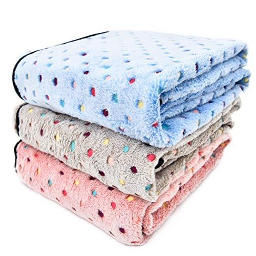 TYIOWALI Pet Hundedecke Super Weichen Warmen Fleece Stoff Dot Decke Katze Schlafen Handtuch Erwachsenen Verfügbar, Grau M