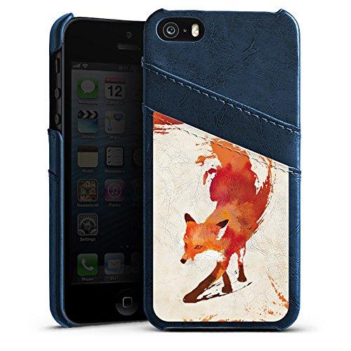 Apple iPhone 5 Housse Outdoor Étui militaire Coque Renard Renard Art Étui en cuir bleu marine